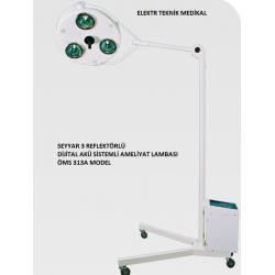 Seyyar 3 Reflektörlü Akülü Ameliyat lambası